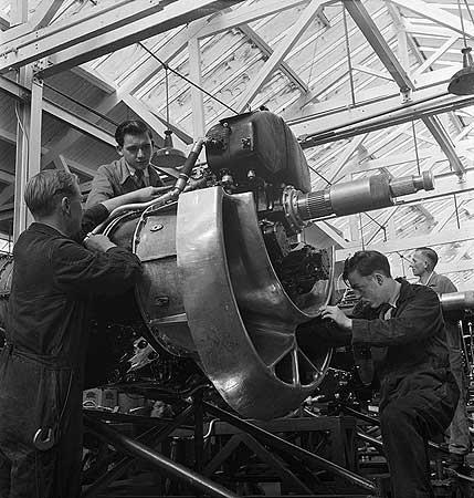 A 'Double Mamba' aero engine under construction at Armstrong Siddeley the car and aircraft engine manufacturers 1954 © English Heritage.NMR