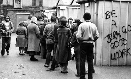 People line up to collect their doll money