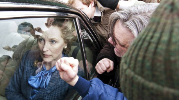 Iron Lady film shot, rioters harass Thatcher