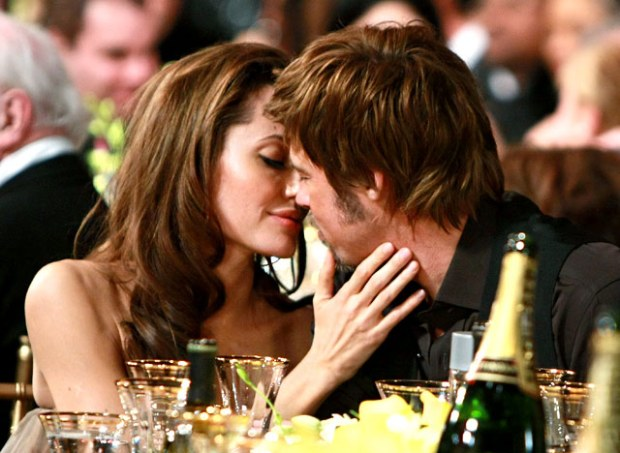 Jolie and Pitt getting up close and personal.