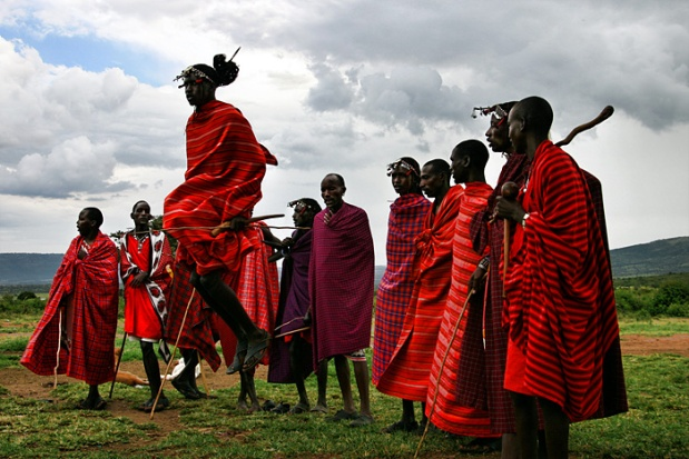 Masia tribesmen participate in jumping competitions to impress the females within the tribe. The higher the jump, the higher his credibility and masculinity.